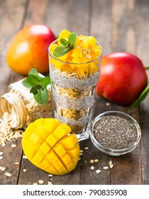 Healthy breakfast, chia seed pudding with mango and granola