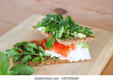 healthy Breakfast of cottage cheese, herbs and bread