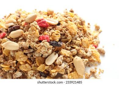 healthy breakfast, dried fruit and peanut Granola