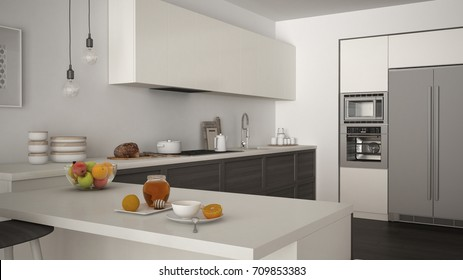 Healthy breakfast with fruit in modern kitchen with wooden details and parquet floor, minimalist white and grey interior design, 3d illustration