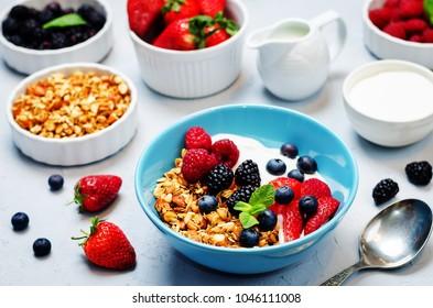 Healthy breakfast with granola, greek yogurt, berries and milk. toning. selective focus