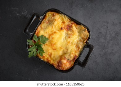 Healthy breakfast. Lasagna, or casserole, or a meat pie baked in the oven