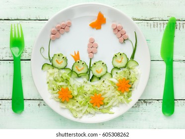 Healthy breakfast or lunch for kids , vegetable salad food art