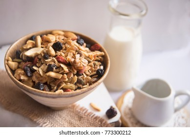 Healthy Breakfast! Milk and cereals shot in natural light.