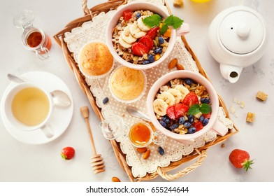 Healthy Breakfast with oatmeal and fresh berries. Concept for healthy eating and nutrition. Top view.