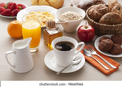 Healthy breakfast on the table close up