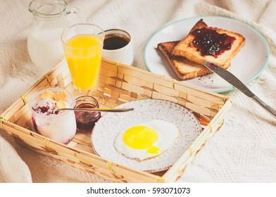 a Healthy breakfast on wooden light background