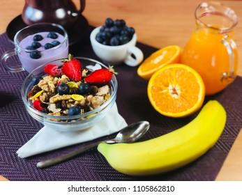 healthy breakfast with orange juice
