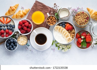 Healthy breakfast set on grey background. The concept of delicious and healthy food. Top view, copy space. - Shutterstock ID 1722135538