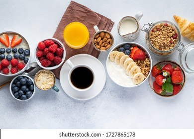 Healthy breakfast set on grey background. The concept of delicious and healthy food. Top view, copy space. - Shutterstock ID 1727865178