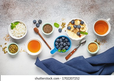 Healthy breakfast set with tea and granola. Top view. Flat lay