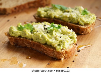 healthy breakfast toast with avocado smash