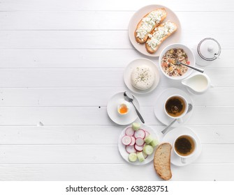 Healthy breakfast with toast and cheese, poached egg and salad, additional text space left, topview