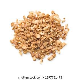 Healthy buckwheat flakes isolated on white background.