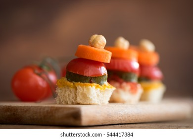 Healthy canapes with vegetables