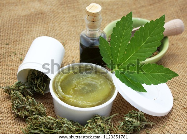 Healthy cannabis hemp natural products. Medical marijuana herb using.