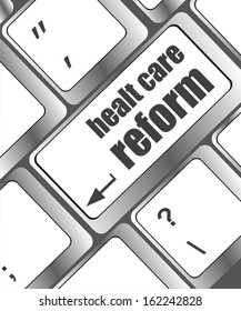 healthy care reform shown by health computer keyboard button, raster