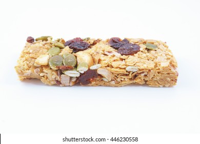 Healthy cereal bar with fruits on white background