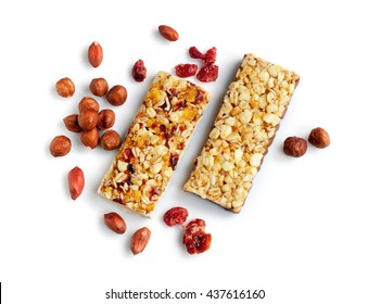 Healthy cereal bars with nuts isolated on white background
