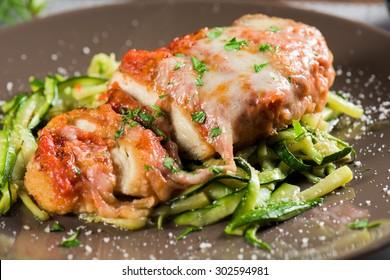 Healthy Chicken Parmesan with Zucchini