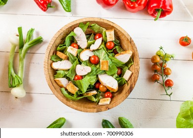 healthy chicken salad in bowl, top view