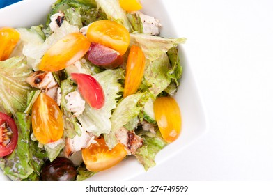 healthy chicken salad with heirloom tomatoes and cucumber