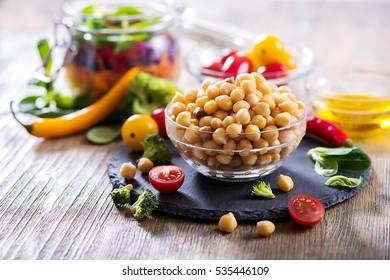 Healthy chickpea and veggies for homemade salad, diet, vegetarian, vegan food, vitamin snack