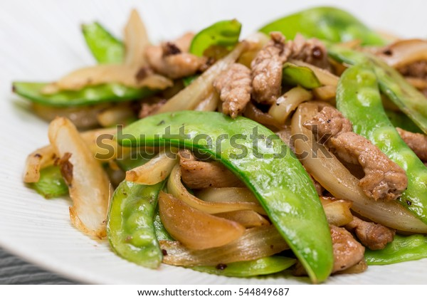 Healthy Chinese Food Fried Pods Onion Stock Photo Edit Now