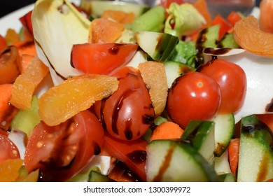 healthy and colourful salad with tomato