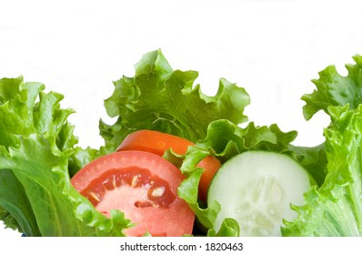 A healthy combination of lettuce, tomato and cucumber.
