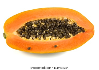 Healthy concept. Ripe papaya, juicy papaya fruit isolated on white background, top view with clipping path.