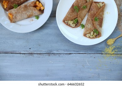 Healthy Concept: Wholemeal Nutritional Yeast Crepes