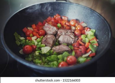 healthy cooking fresh vegetables with venison meat