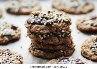 healthy crispy oatmeal chocolate chip cookies with almonds