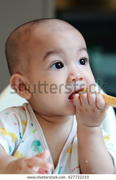 Healthy Cute Asian Baby Boy Try Stock Photo Edit Now 627722210