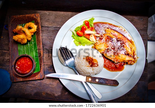 Healthy and Delicious Indonesian Food. Chicken, Rice and Special Sauce