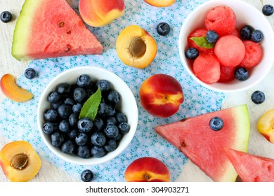 Healthy dessert of fresh fruit and berries