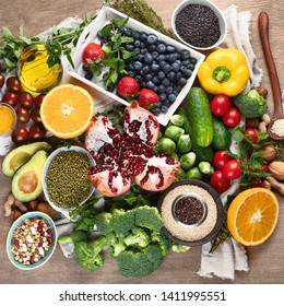 Healthy diet background. Clean and detox eating. Vegan or gluten free diet. Raw organic fruits, vegetables, grain and superfood  for  cooking