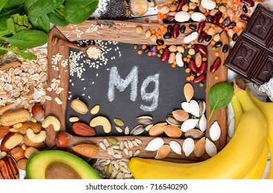 Healthy diet eating concept. Foods containing magnesium. Top view.
