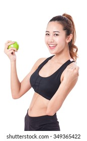 healthy diet eating woman holding apple for weightloss on white background.