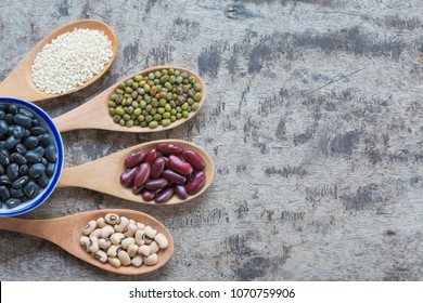 Healthy diet. High protein vegan foods. Top view whole grains. Legumes. Copy space used for add messages.