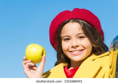 Healthy diet. Snack while walk. Kids health and nutrition. Healthy snacking benefits. Snack between lunch and dinner. Having snack. Good nutrition essential good health. Kid girl eat apple fruit.
