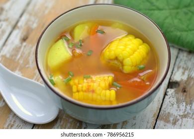 Healthy diet soup, tomato, corn and potato