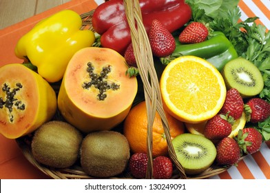 Healthy diet - sources of Vitamin C - oranges, strawberry, bell pepper capsicum, kiwi fruit, paw paw, spinach dark leafy greens and parsley.