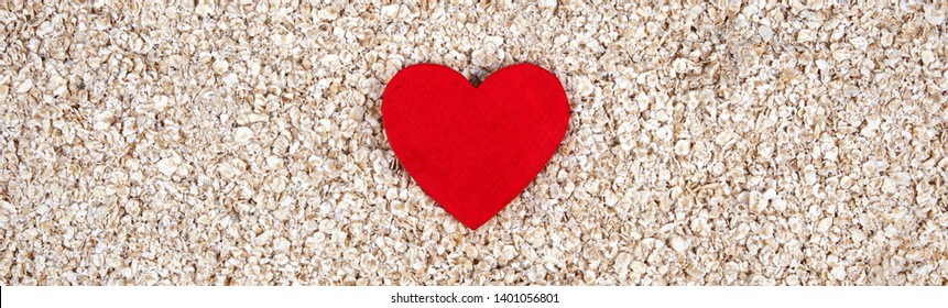 Healthy diet with traditional oats - as a banner or panorama - food concept: love for health, porridge, good nutrition, oats or your heart!