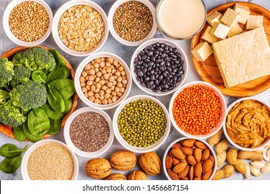 Healthy diet vegan food, veggie protein sources. Top view.