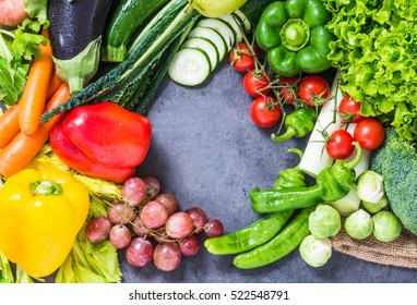 Healthy diet vegetables and fruits  background text space, top view.