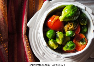 Healthy dinner with brussels cabbage and meat