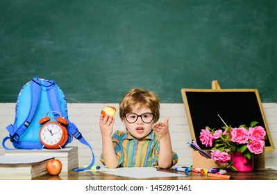 School Children Uniform Eating Healthy Food Images, Stock