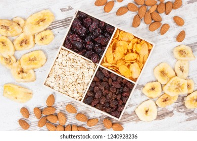 Healthy dried ingredients containing carbohydrates, dietary fiber and minerals, concept of nutritious eating